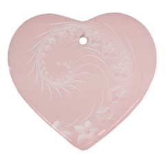 Light Pink Abstract Flowers Heart Ornament (Two Sides)
