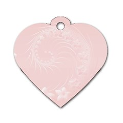 Light Pink Abstract Flowers Dog Tag Heart (one Sided)