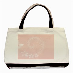 Light Pink Abstract Flowers Twin-sided Black Tote Bag