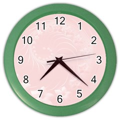 Light Pink Abstract Flowers Wall Clock (color)