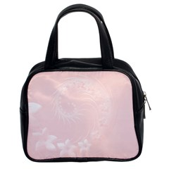 Light Pink Abstract Flowers Classic Handbag (Two Sides)