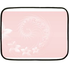 Light Pink Abstract Flowers Mini Fleece Blanket (Two-sided)