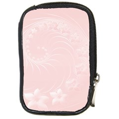 Light Pink Abstract Flowers Compact Camera Leather Case