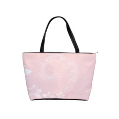 Light Pink Abstract Flowers Large Shoulder Bag