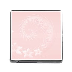 Light Pink Abstract Flowers Memory Card Reader with Storage (Square)
