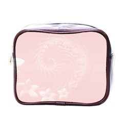 Light Pink Abstract Flowers Mini Travel Toiletry Bag (One Side)