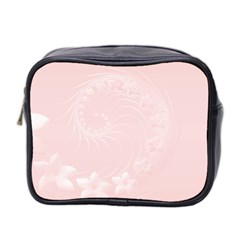Light Pink Abstract Flowers Mini Travel Toiletry Bag (Two Sides)