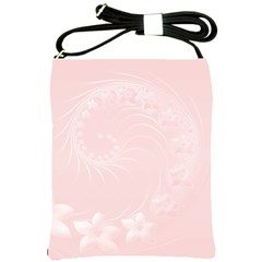 Light Pink Abstract Flowers Shoulder Sling Bag