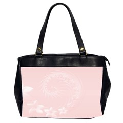 Light Pink Abstract Flowers Oversize Office Handbag (Two Sides)