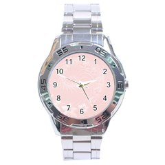 Light Pink Abstract Flowers Stainless Steel Watch (Men s)
