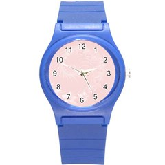 Light Pink Abstract Flowers Plastic Sport Watch (Small)