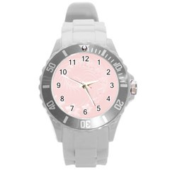 Light Pink Abstract Flowers Plastic Sport Watch (Large)
