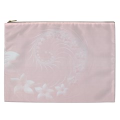Light Pink Abstract Flowers Cosmetic Bag (XXL)