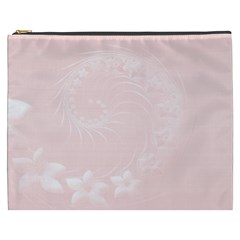 Light Pink Abstract Flowers Cosmetic Bag (XXXL)