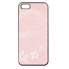 Light Pink Abstract Flowers Apple Iphone 5 Seamless Case (black)