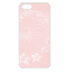 Light Pink Abstract Flowers Apple iPhone 5 Seamless Case (White)
