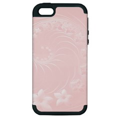 Light Pink Abstract Flowers Apple iPhone 5 Hardshell Case (PC+Silicone)