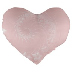 Light Pink Abstract Flowers 19  Premium Heart Shape Cushion
