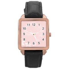 Light Pink Abstract Flowers Rose Gold Leather Watch