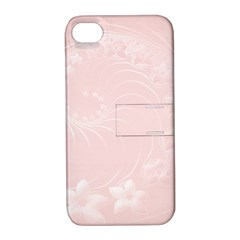 Light Pink Abstract Flowers Apple iPhone 4/4S Hardshell Case with Stand