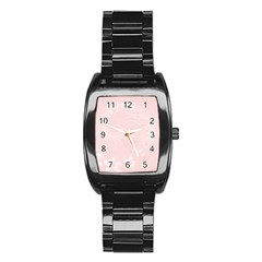 Light Pink Abstract Flowers Men s Stainless Steel Barrel Analog Watch