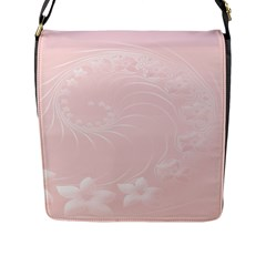 Light Pink Abstract Flowers Flap Closure Messenger Bag (large)