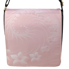 Light Pink Abstract Flowers Flap closure messenger bag (Small)