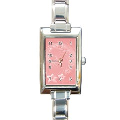 Pink Abstract Flowers Rectangular Italian Charm Watch
