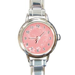 Pink Abstract Flowers Round Italian Charm Watch