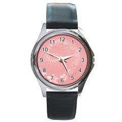 Pink Abstract Flowers Round Metal Watch (Silver Rim)