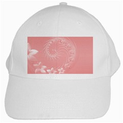 Pink Abstract Flowers White Baseball Cap