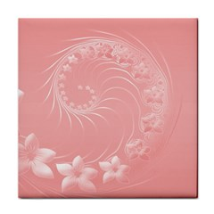 Pink Abstract Flowers Ceramic Tile
