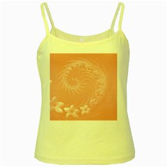 Pink Abstract Flowers Yellow Spaghetti Tank