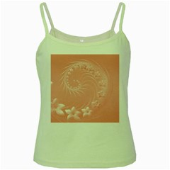Pink Abstract Flowers Green Spaghetti Tank