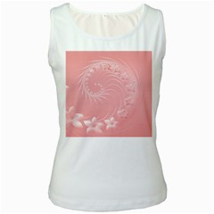 Pink Abstract Flowers Womens  Tank Top (white)