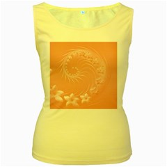 Pink Abstract Flowers Womens  Tank Top (yellow)
