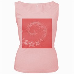 Pink Abstract Flowers Womens  Tank Top (Pink)