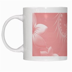 Pink Abstract Flowers White Coffee Mug