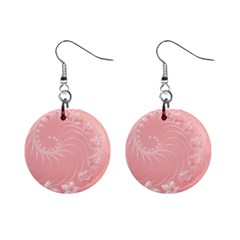 Pink Abstract Flowers Mini Button Earrings