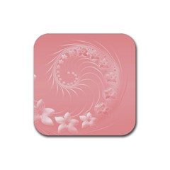 Pink Abstract Flowers Drink Coaster (square)