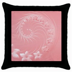 Pink Abstract Flowers Black Throw Pillow Case