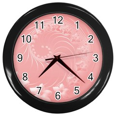 Pink Abstract Flowers Wall Clock (Black)