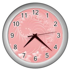 Pink Abstract Flowers Wall Clock (Silver)