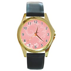 Pink Abstract Flowers Round Metal Watch (gold Rim)