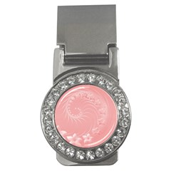 Pink Abstract Flowers Money Clip (cz)