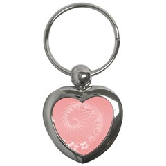 Pink Abstract Flowers Key Chain (heart)