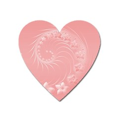 Pink Abstract Flowers Magnet (Heart)