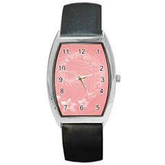 Pink Abstract Flowers Tonneau Leather Watch