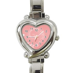 Pink Abstract Flowers Heart Italian Charm Watch