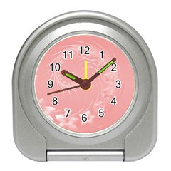 Pink Abstract Flowers Desk Alarm Clock